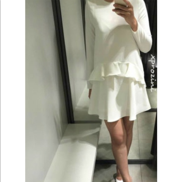 52bb0fe580 Zara Dresses | Nwt White Frill Waist Mini Dress | Poshmark